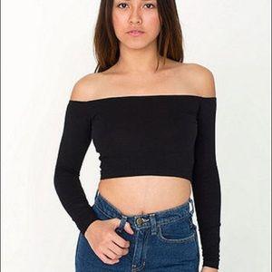 american apparel off shoulder ribbed crop top